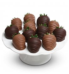 Cakes and Desserts: One Dozen Milk and Dark Chocolate Covered Strawberries
