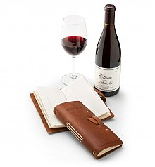 Personalized Keepsake Gifts: Embossed Leather Wine Log with Red Wine